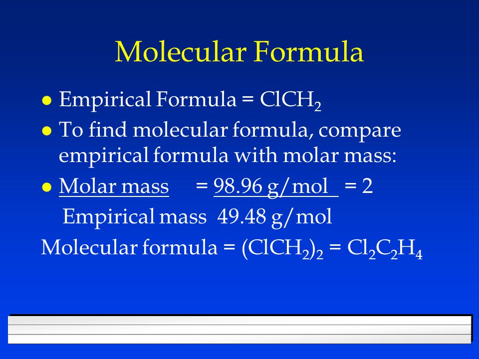 Molecular Formula Empirical Formula = ClCH2