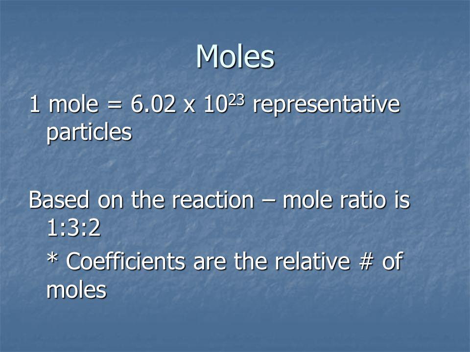 Moles 1 mole = 6.02 x 1023 representative particles