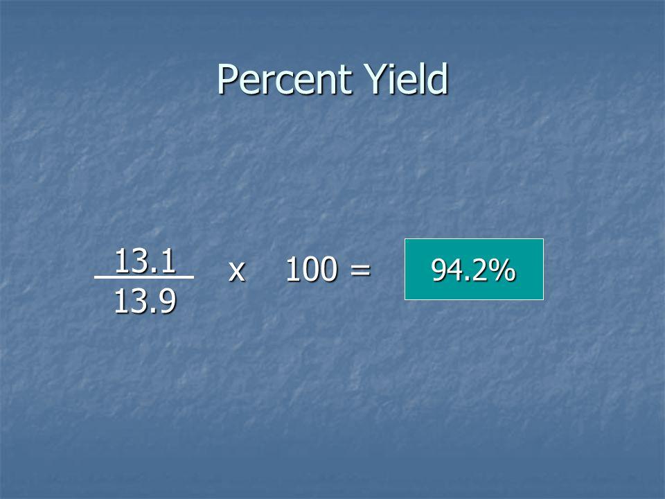 Percent Yield 13.1 13.9 94.2% x 100 =