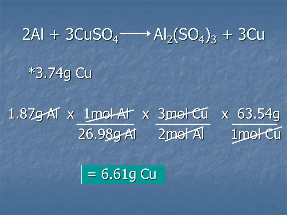 2Al + 3CuSO4 Al2(SO4)3 + 3Cu 1.87g Al x 1mol Al x 3mol Cu x 63.54g