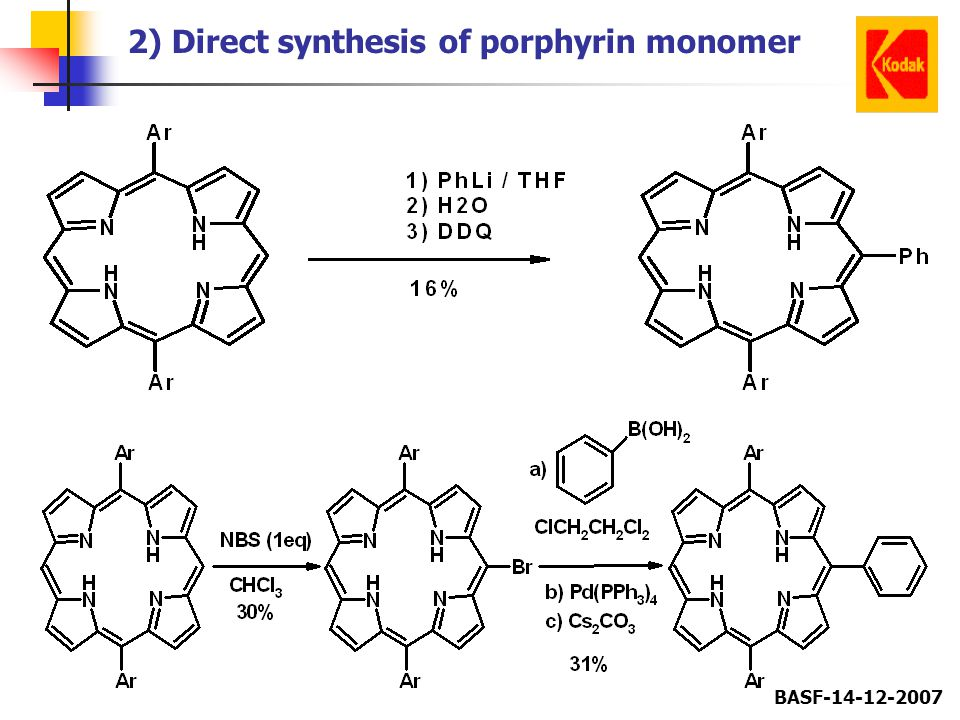2) Direct synthesis of porphyrin monomer