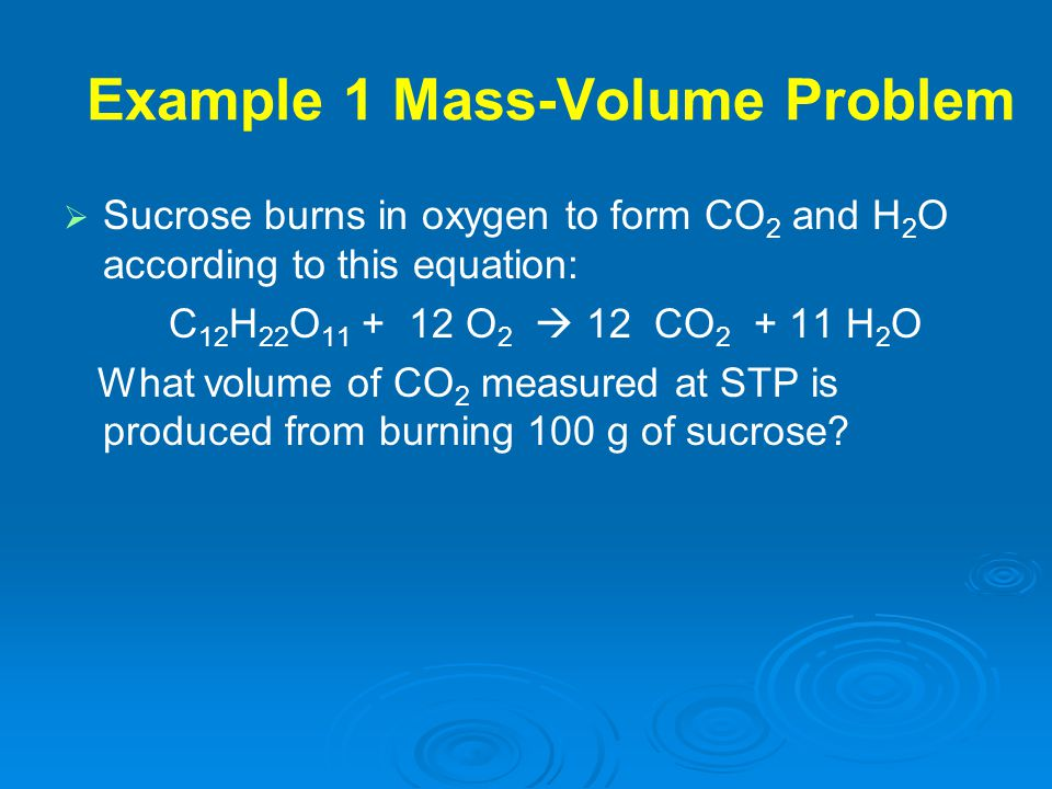 Example 1 Mass-Volume Problem