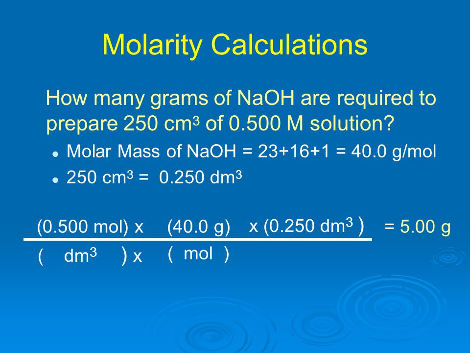 Molarity Calculations