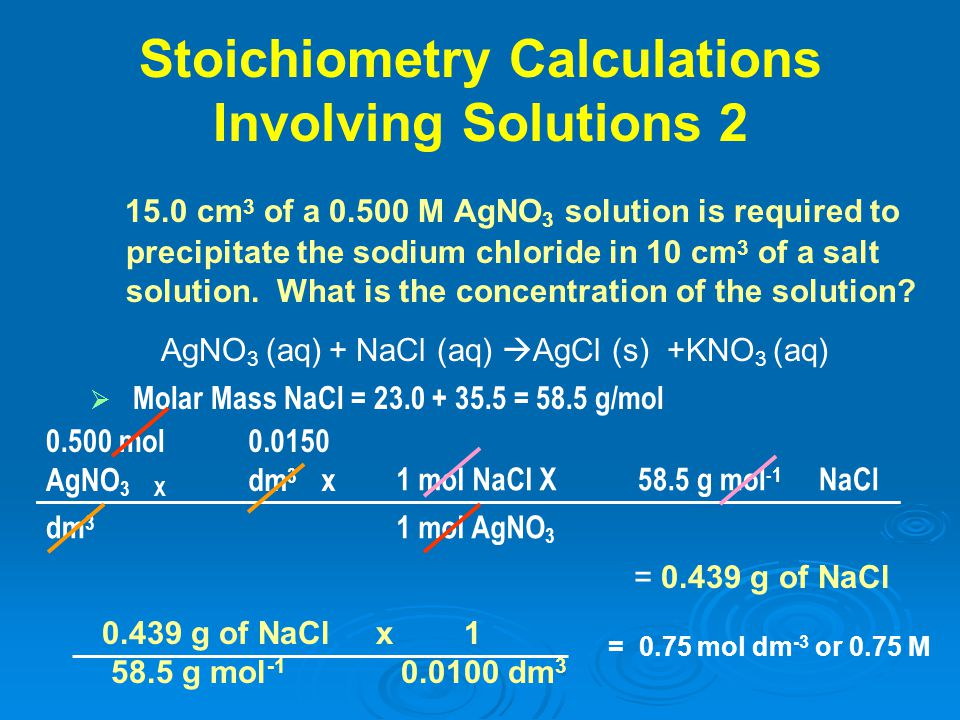 Stoichiometry Calculations Involving Solutions 2