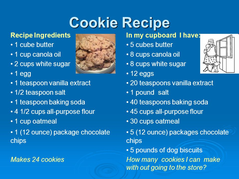 Cookie Recipe Recipe Ingredients 1 cube butter 1 cup canola oil