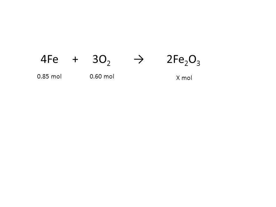 4Fe + 3O2 → 2Fe2O3 0.85 mol 0.60 mol X mol