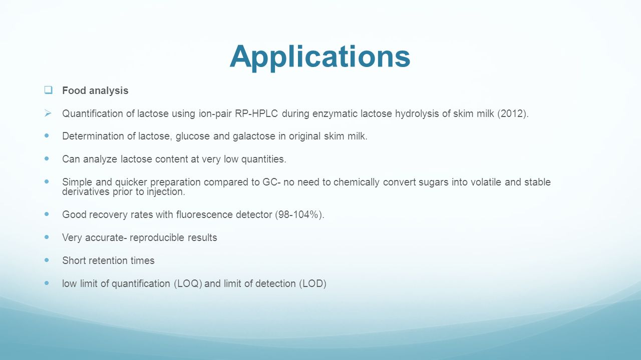 Applications Food analysis