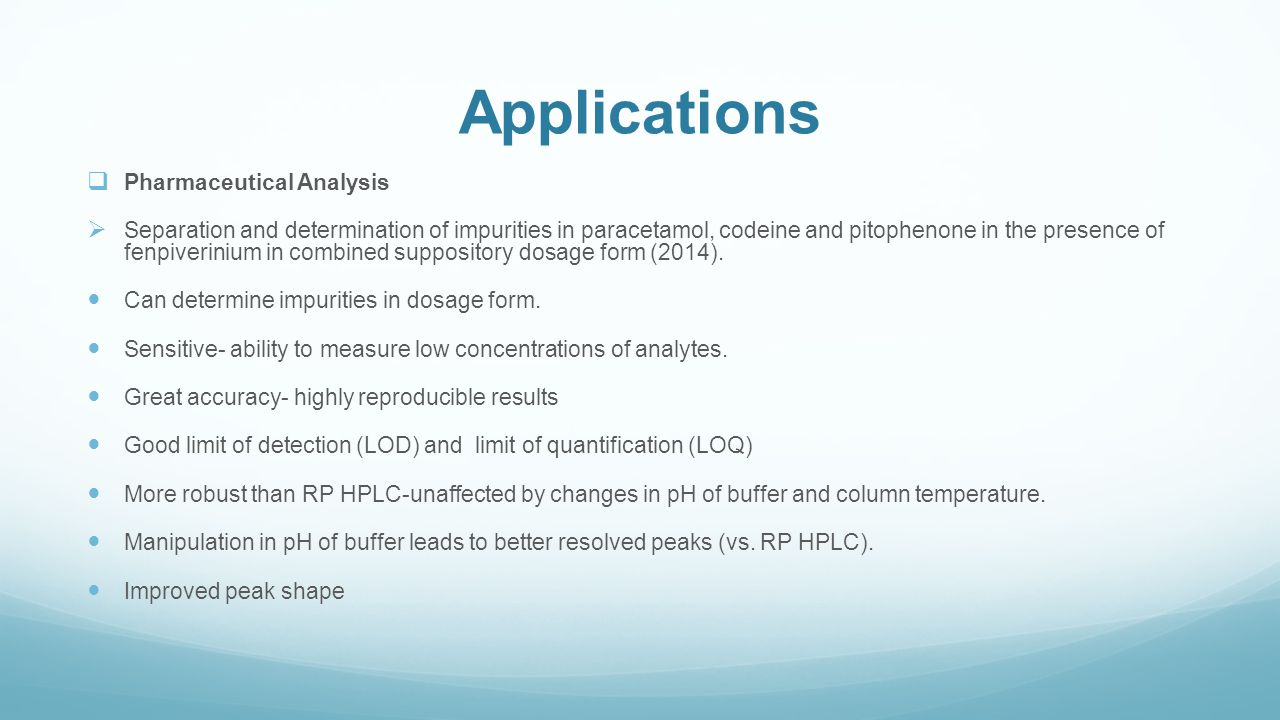 Applications Pharmaceutical Analysis