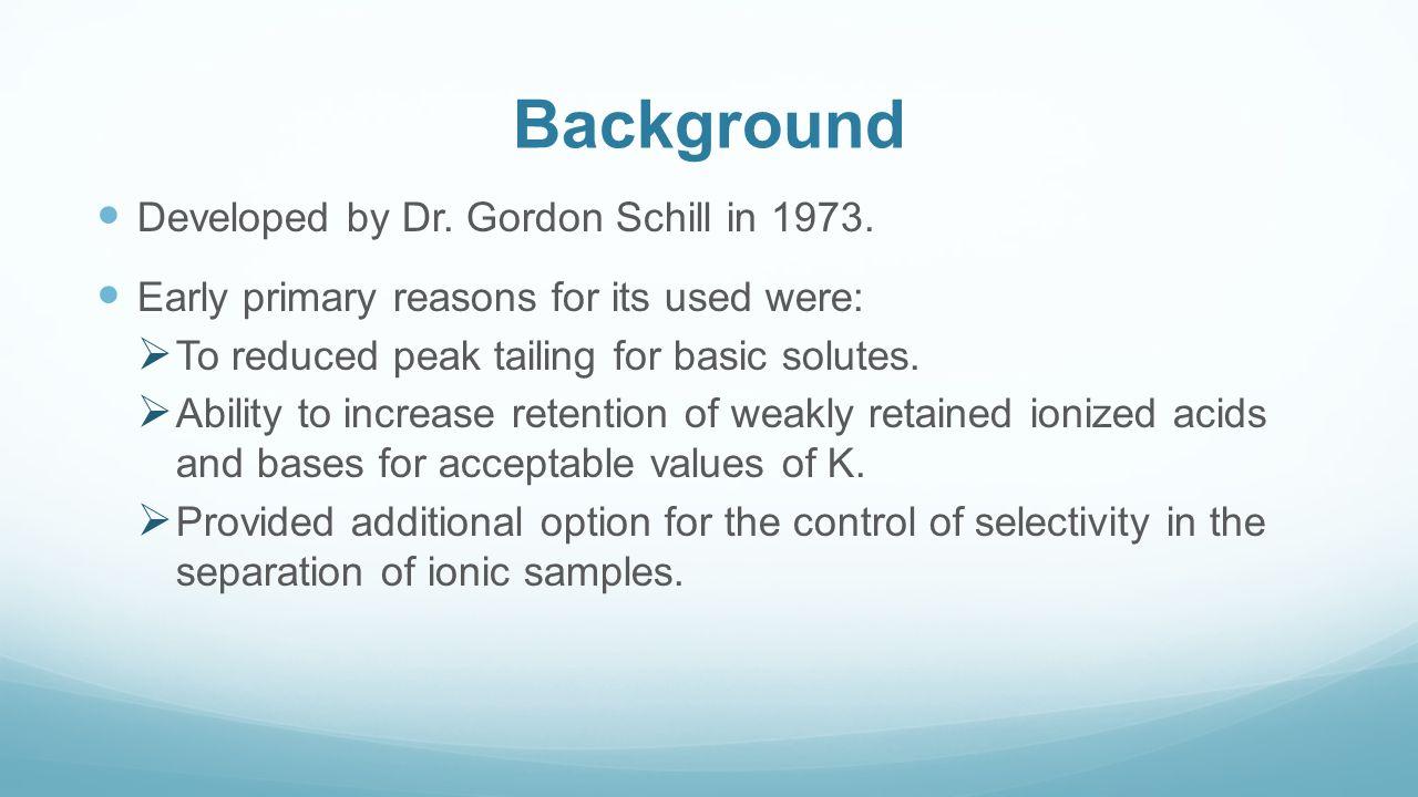 Background Developed by Dr. Gordon Schill in 1973.