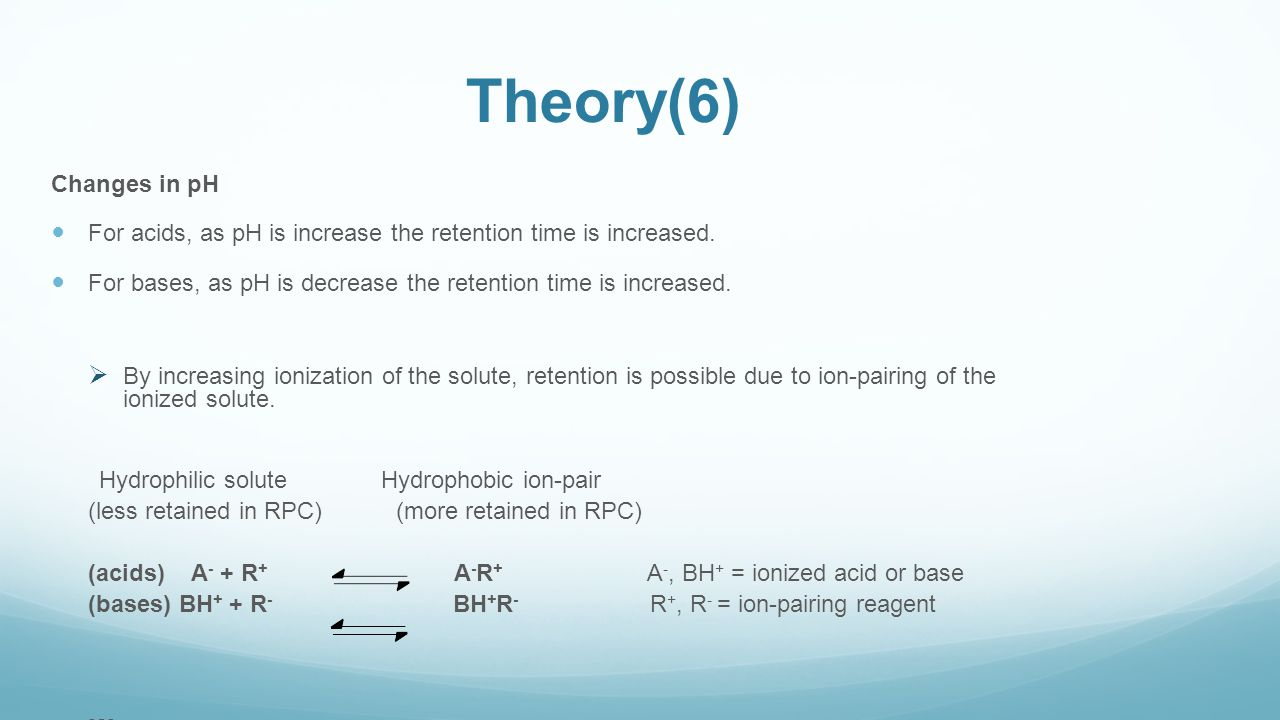 Theory(6) Changes in pH. For acids, as pH is increase the retention time is increased.