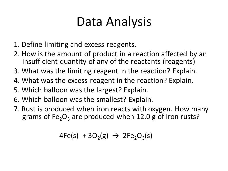 Data Analysis 1. Define limiting and excess reagents.