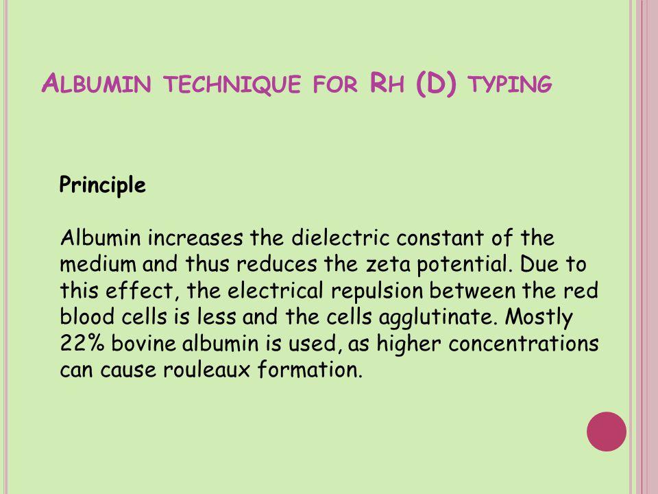 Albumin technique for Rh (D) typing