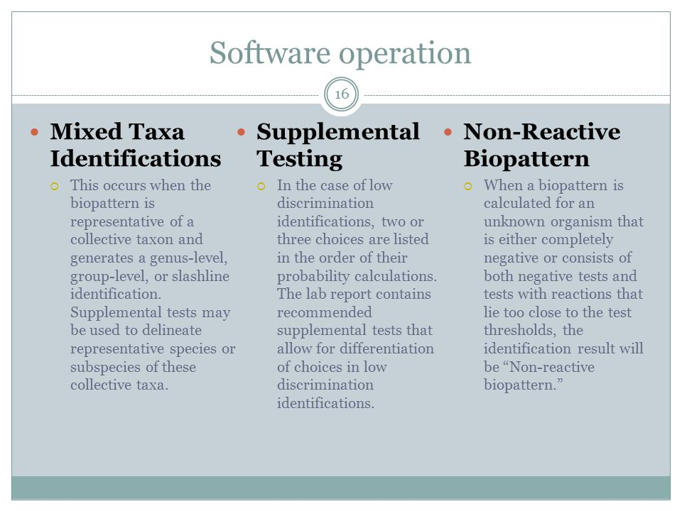 Software operation Mixed Taxa Identifications Supplemental Testing