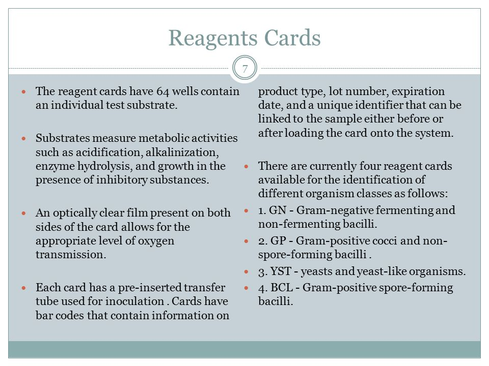 Reagents Cards