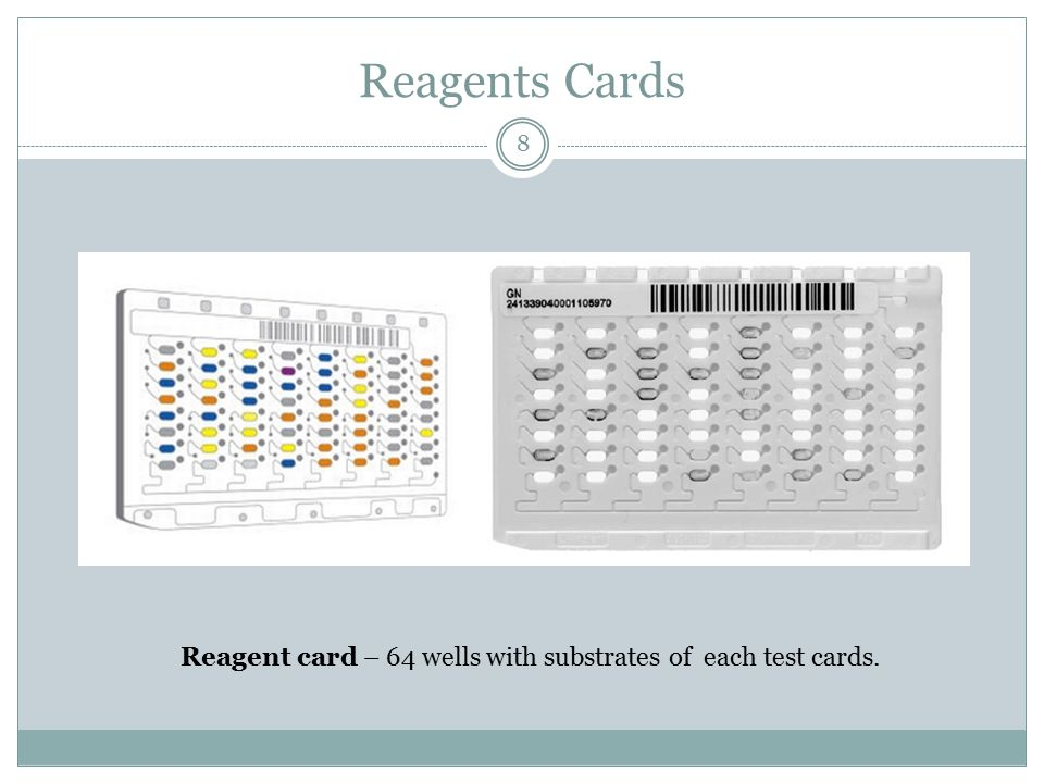 Reagent card – 64 wells with substrates of each test cards.