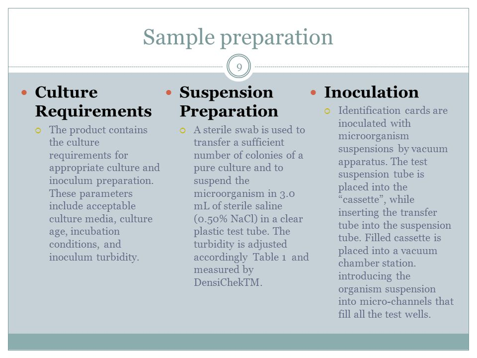 Sample preparation Culture Requirements Suspension Preparation