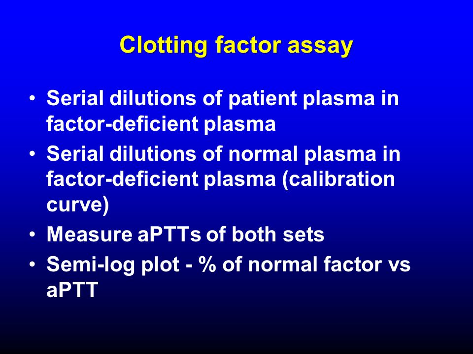 Clotting factor assay Serial dilutions of patient plasma in factor-deficient plasma.