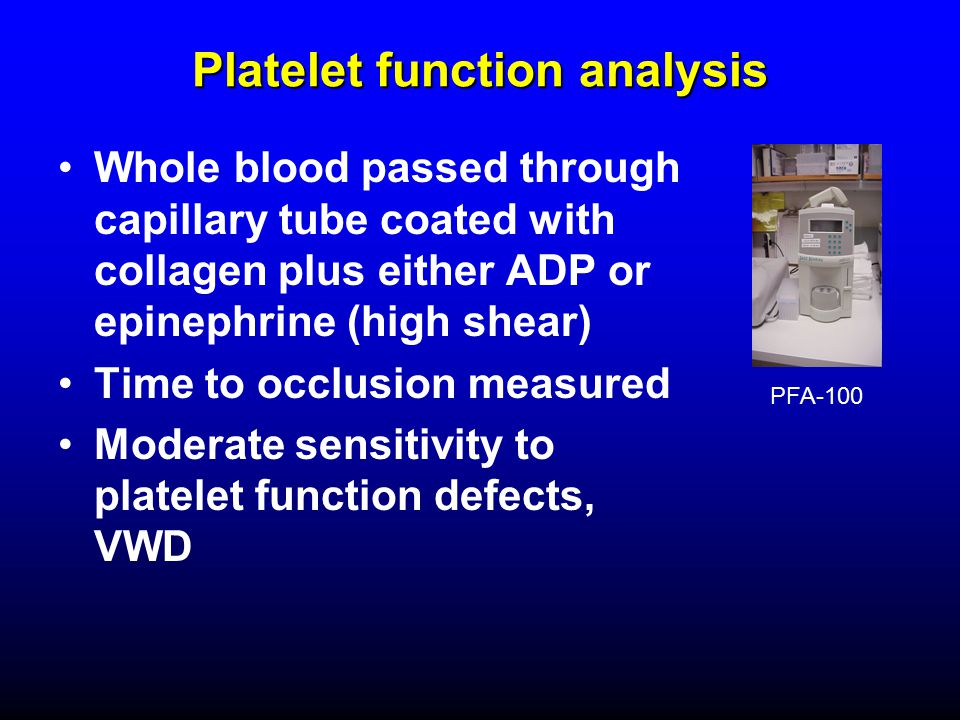 Platelet function analysis