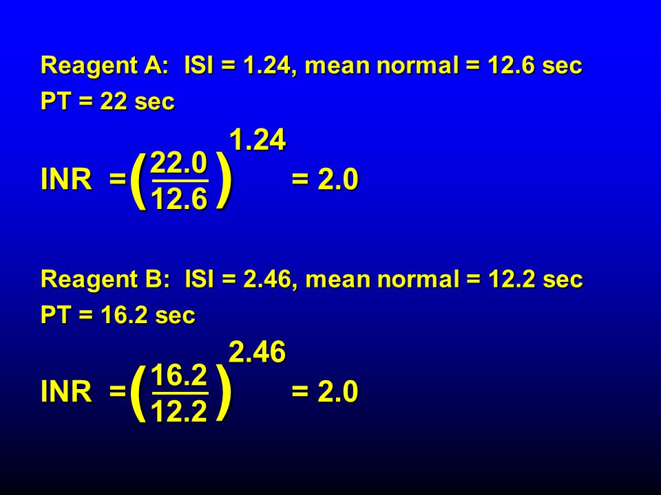 Reagent A: ISI = 1.24, mean normal = 12.6 sec