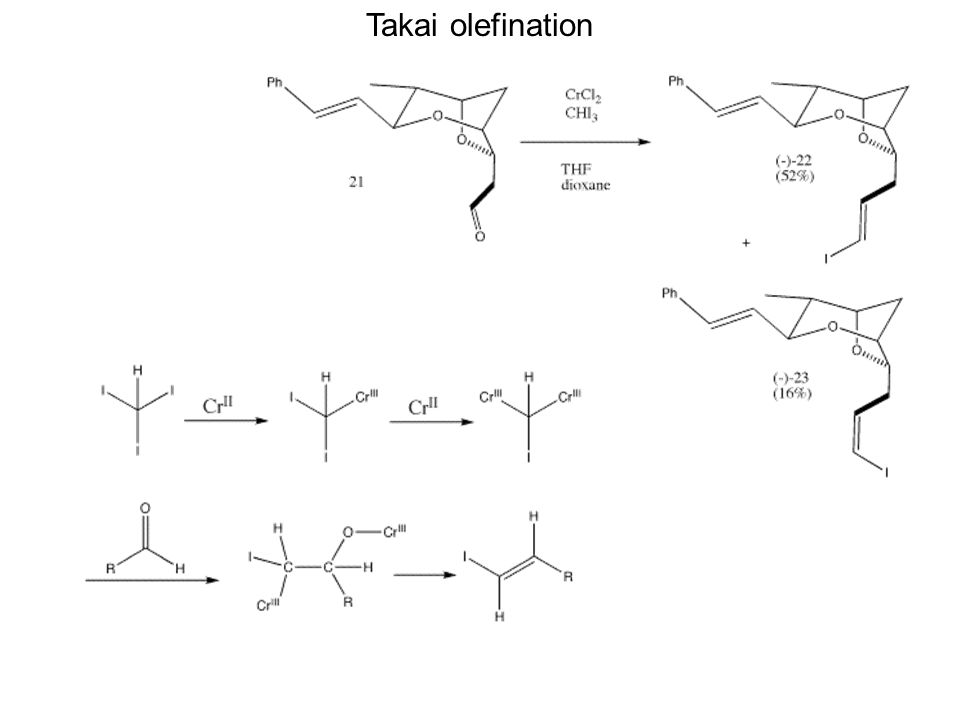 Takai olefination The resulting sensitive aldehyde 21 was immediately subjected to Takai olefination w/o purification.