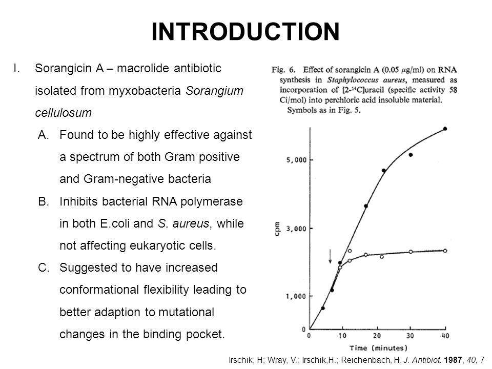 INTRODUCTION Sorangicin A – macrolide antibiotic isolated from myxobacteria Sorangium cellulosum.