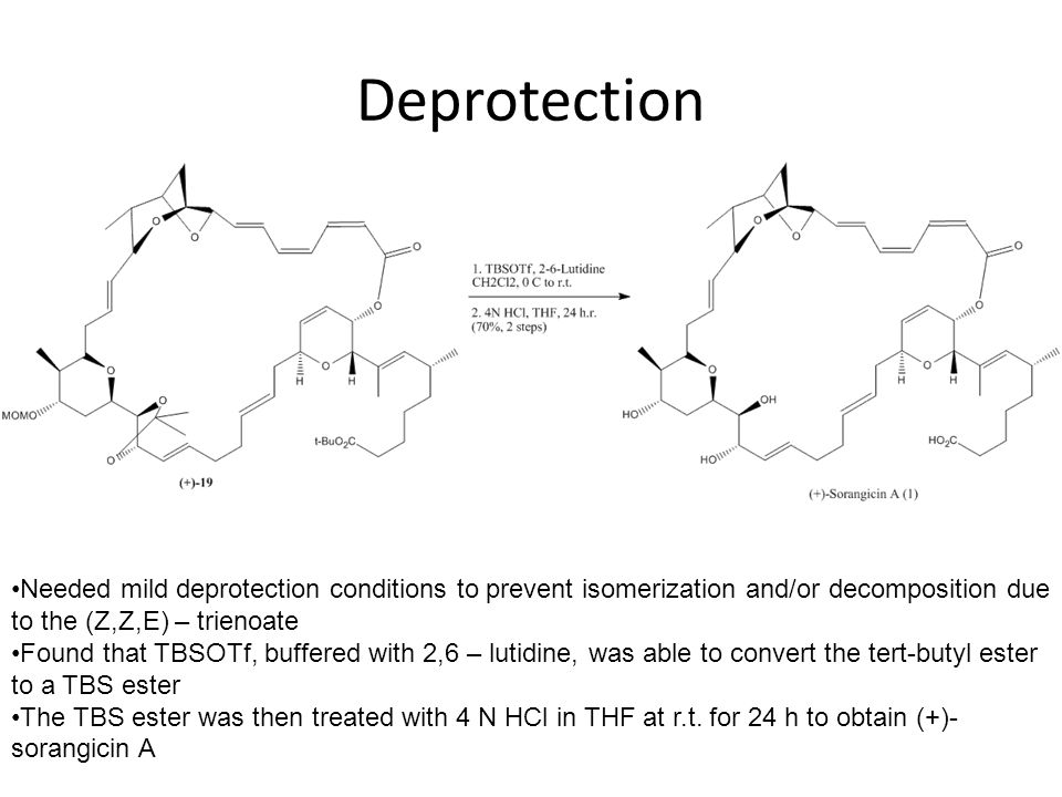 Deprotection Needed to remove MOM, acetonide, and tert-butyl protecting groups.