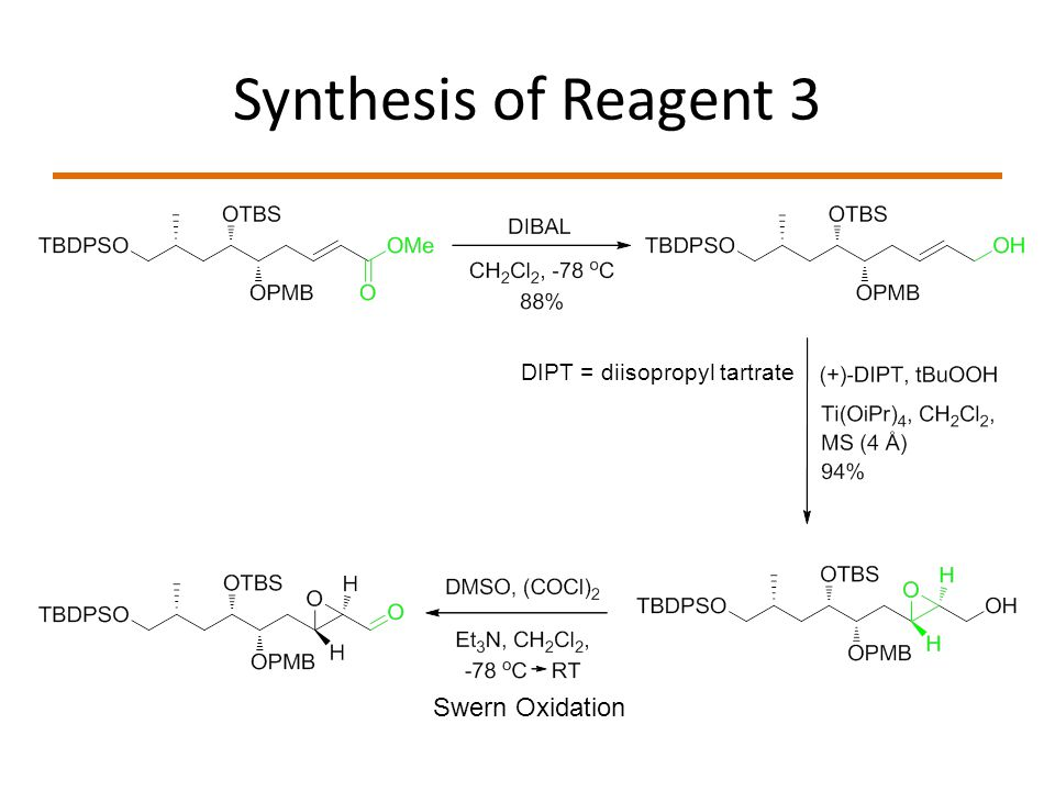 Synthesis of Reagent 3 DIPT = diisopropyl tartrate Swern Oxidation