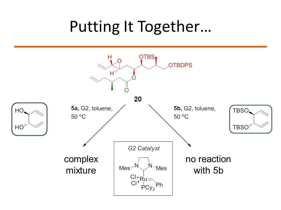 Putting It Together… 20 complex mixture no reaction with 5b