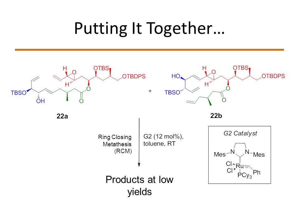 Putting It Together… Products at low yields