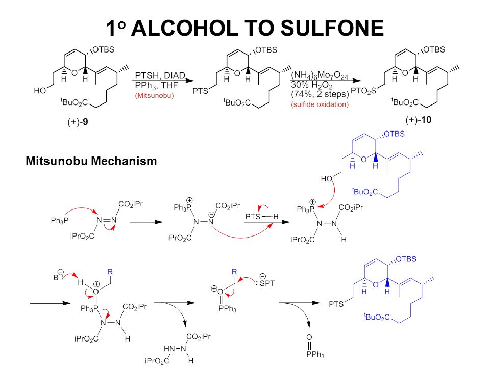 1o ALCOHOL TO SULFONE Mitsunobu Mechanism