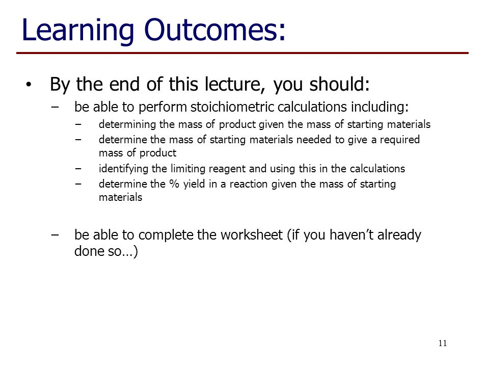 Learning Outcomes: By the end of this lecture, you should: