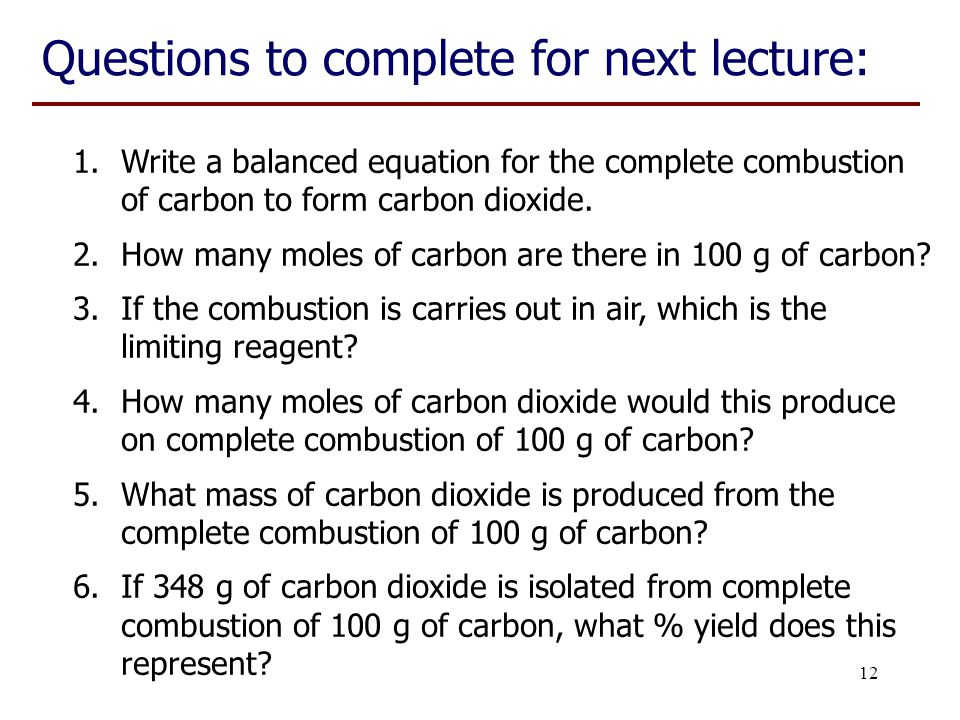 Questions to complete for next lecture: