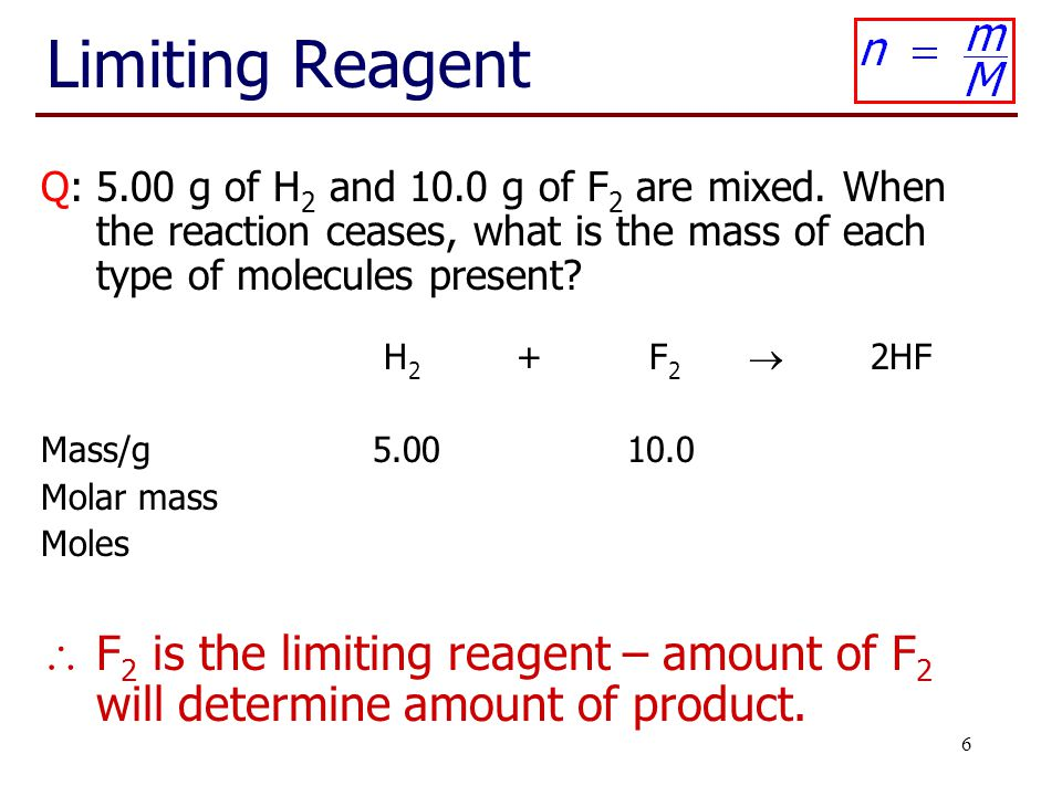 Chem 1001 Lecture 13 Limiting Reagent.
