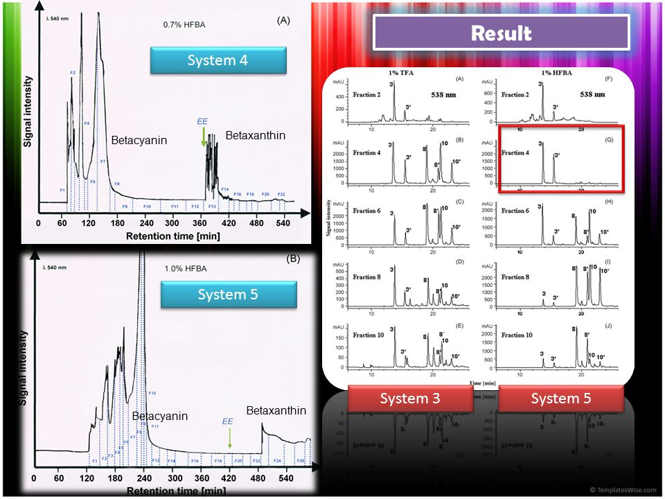 Result System 4 System 5 System 3 System 5 Betaxanthin Betacyanin