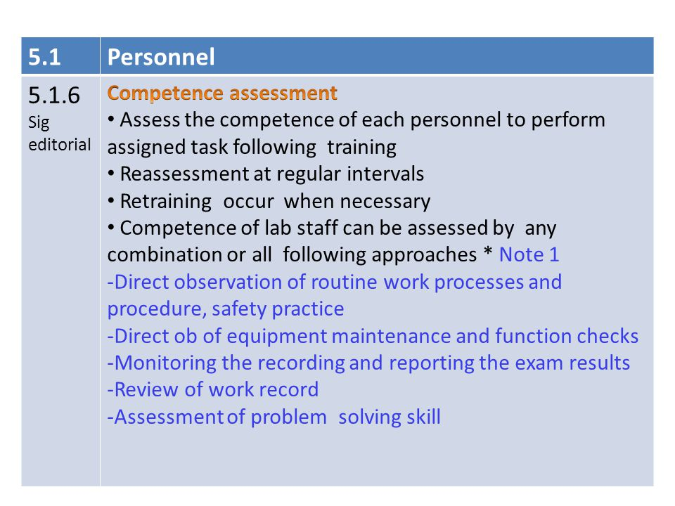 5.1 Personnel 5.1.6 Competence assessment
