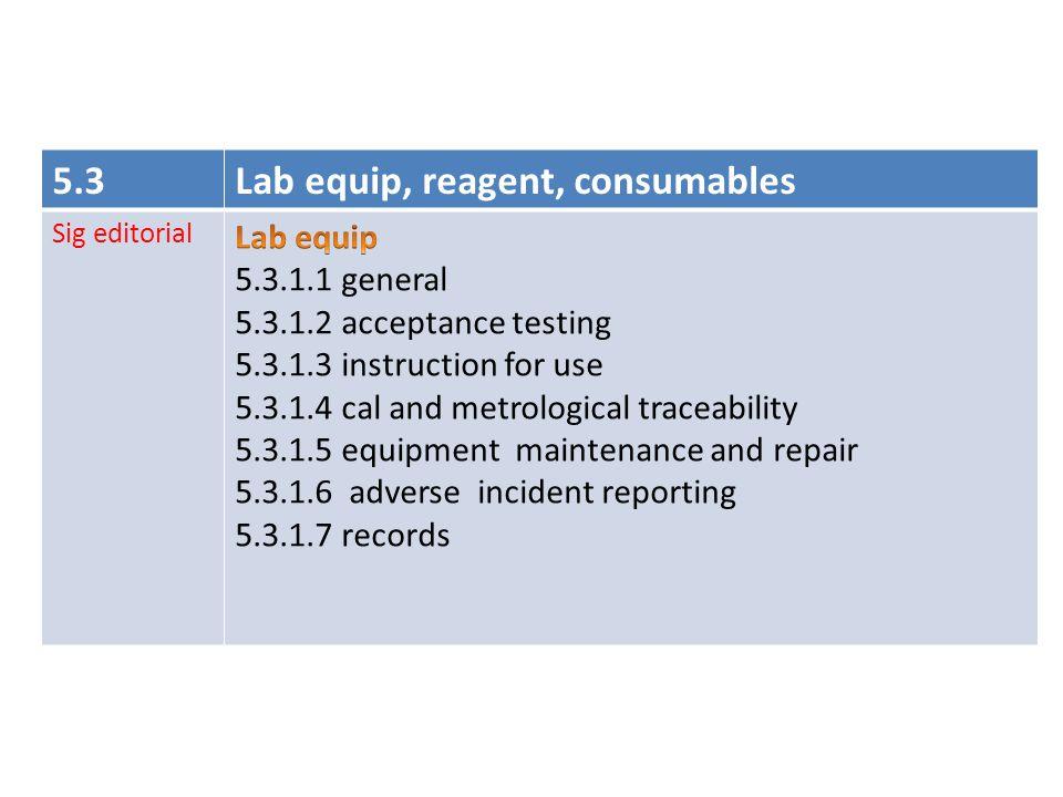 Lab equip, reagent, consumables