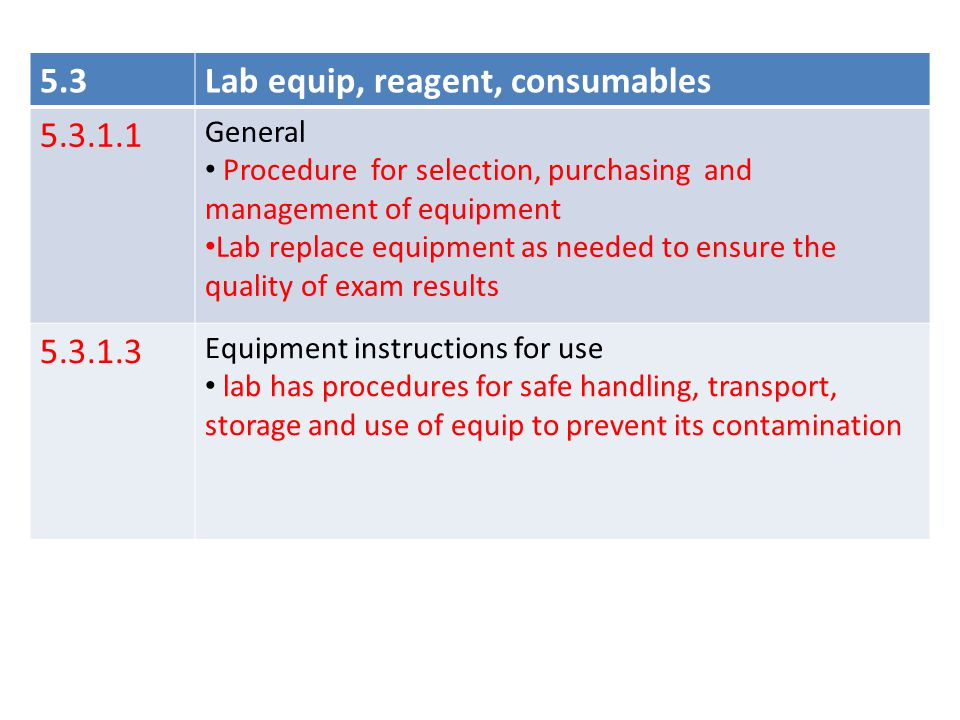 Lab equip, reagent, consumables 5.3.1.1