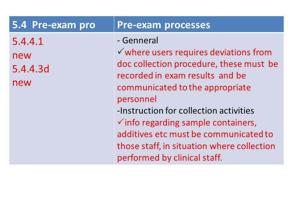 5.4 Pre-exam pro Pre-exam processes 5.4.4.1 new 5.4.4.3d - Genneral