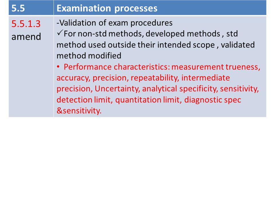Examination processes 5.5.1.3 amend