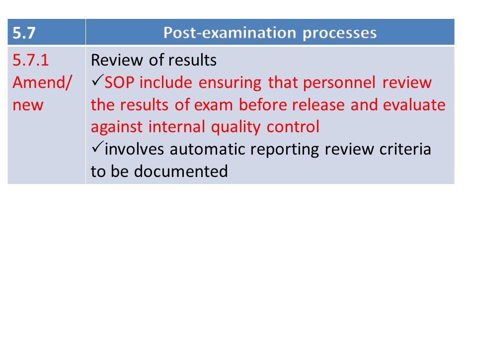 Post-examination processes