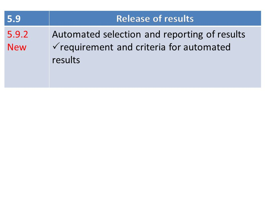 5.9 Release of results. 5.9.2. New. Automated selection and reporting of results.