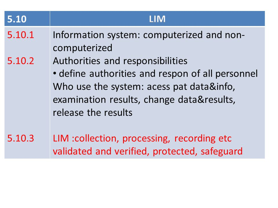 5.10 LIM. 5.10.1. 5.10.2. 5.10.3. Information system: computerized and non-computerized. Authorities and responsibilities.