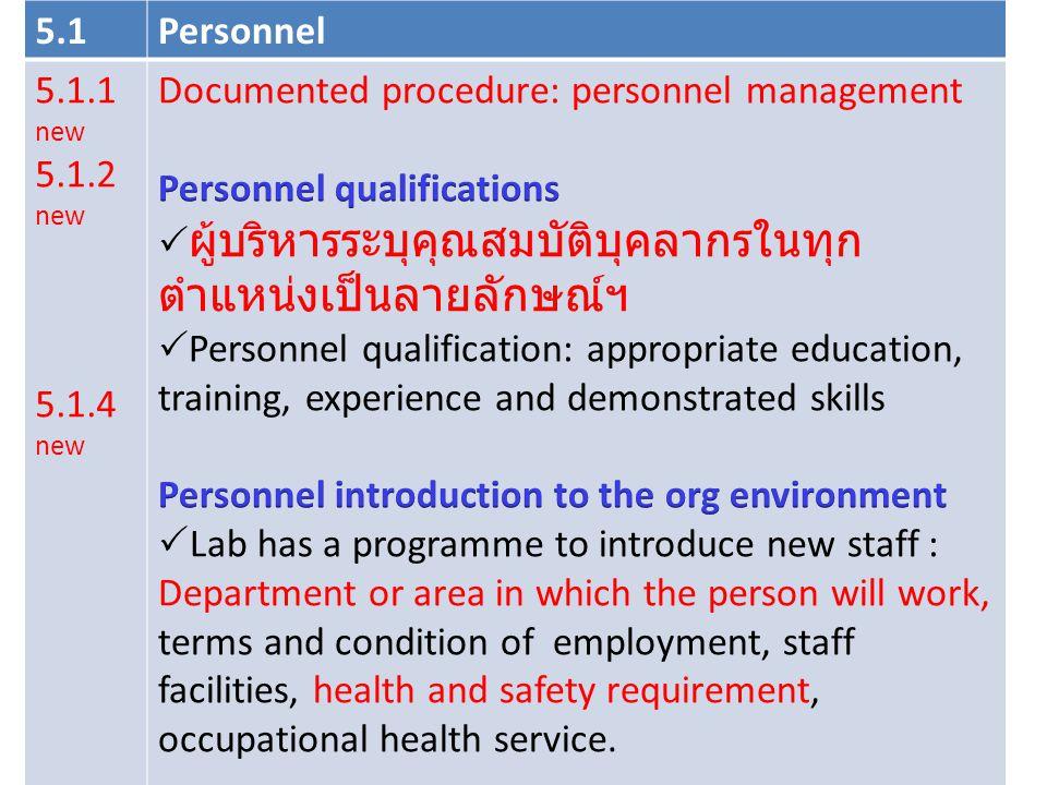 Documented procedure: personnel management Personnel qualifications