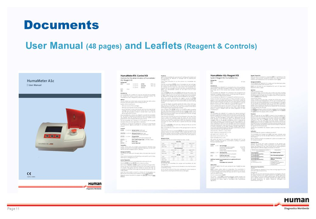 Documents User Manual (48 pages) and Leaflets (Reagent & Controls)