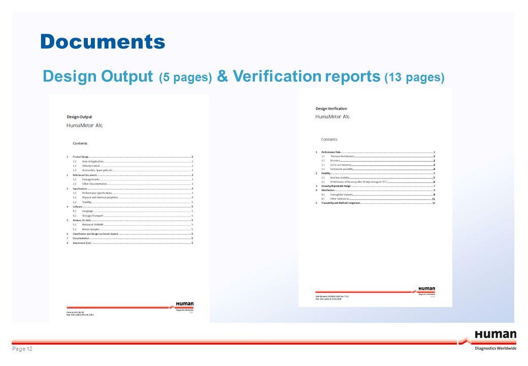 Documents Design Output (5 pages) & Verification reports (13 pages)