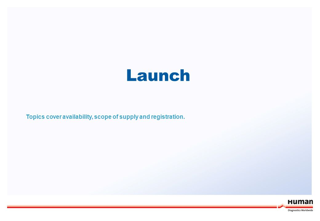 Launch Topics cover availability, scope of supply and registration.