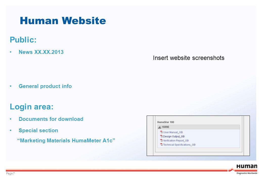 Human Website Public: Login area: Insert website screenshots