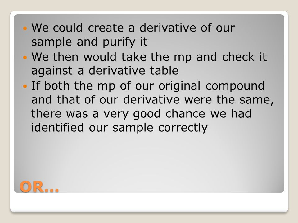 OR… We could create a derivative of our sample and purify it
