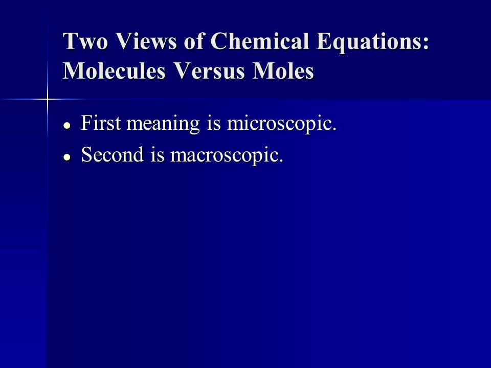 Two Views of Chemical Equations: Molecules Versus Moles