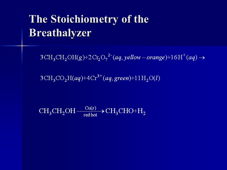 The Stoichiometry of the Breathalyzer